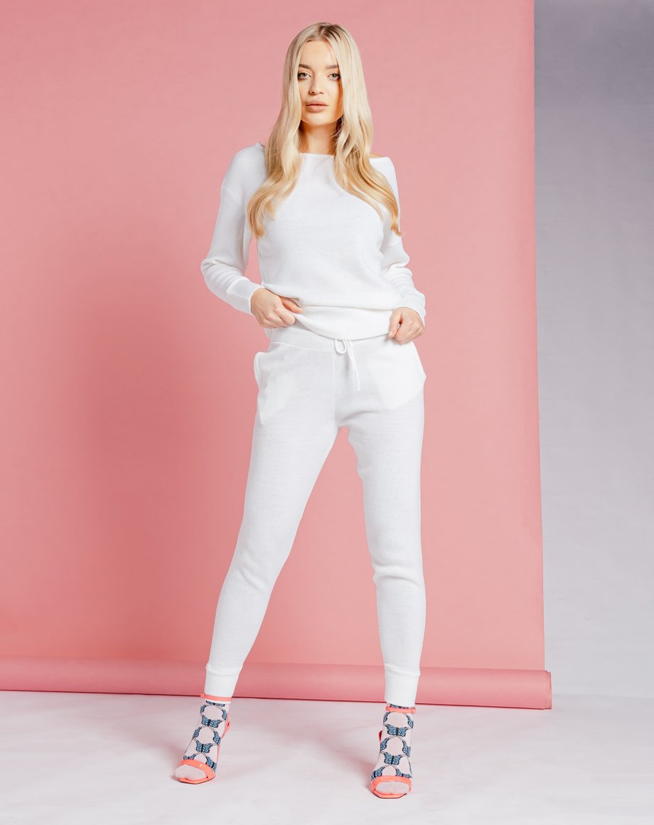 Auriel Knitted Lounge Set - White / 8