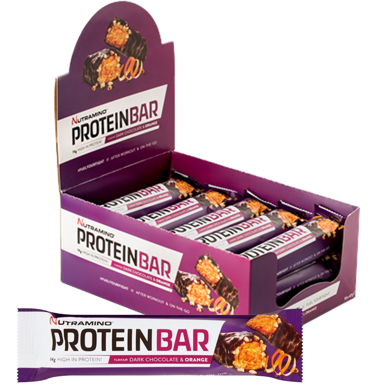 "Hel Låda Proteinbars ""Dark Choco & Orange"" 15 x 47g - 50% rabatt"