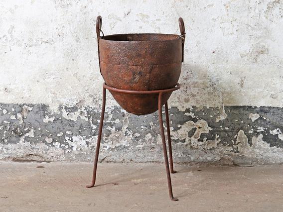 Vintage Metal Planter - Large Brown