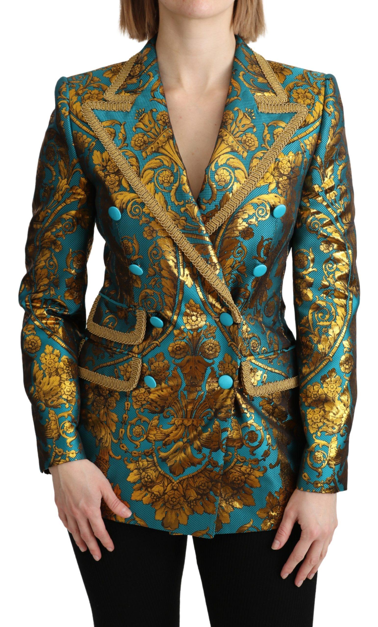 Dolce & Gabbana Women's Jacquard Blazer Gold JKT2665 - IT36 | XS