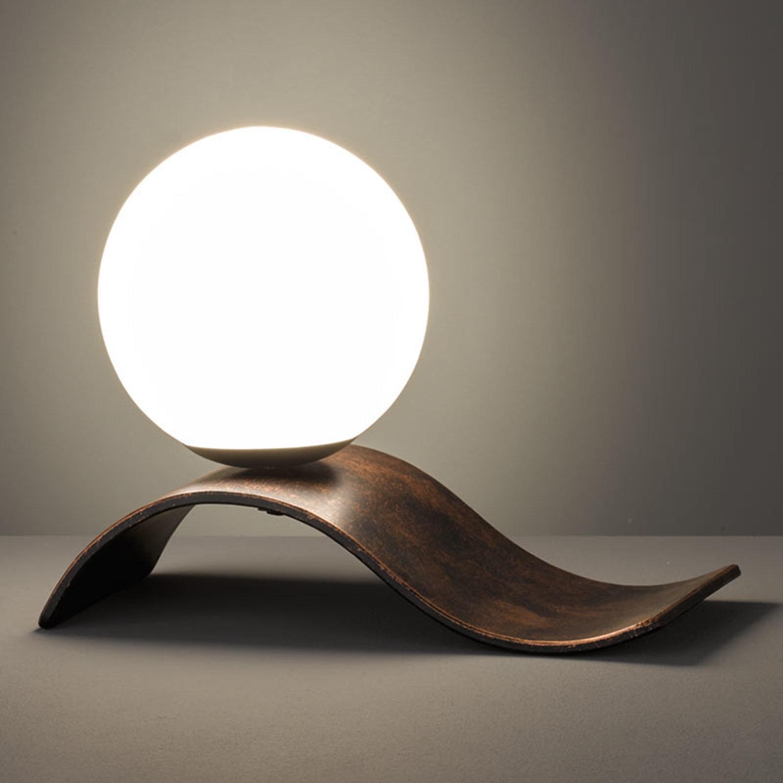 Glass-bordlampe Lara, kobber antikk