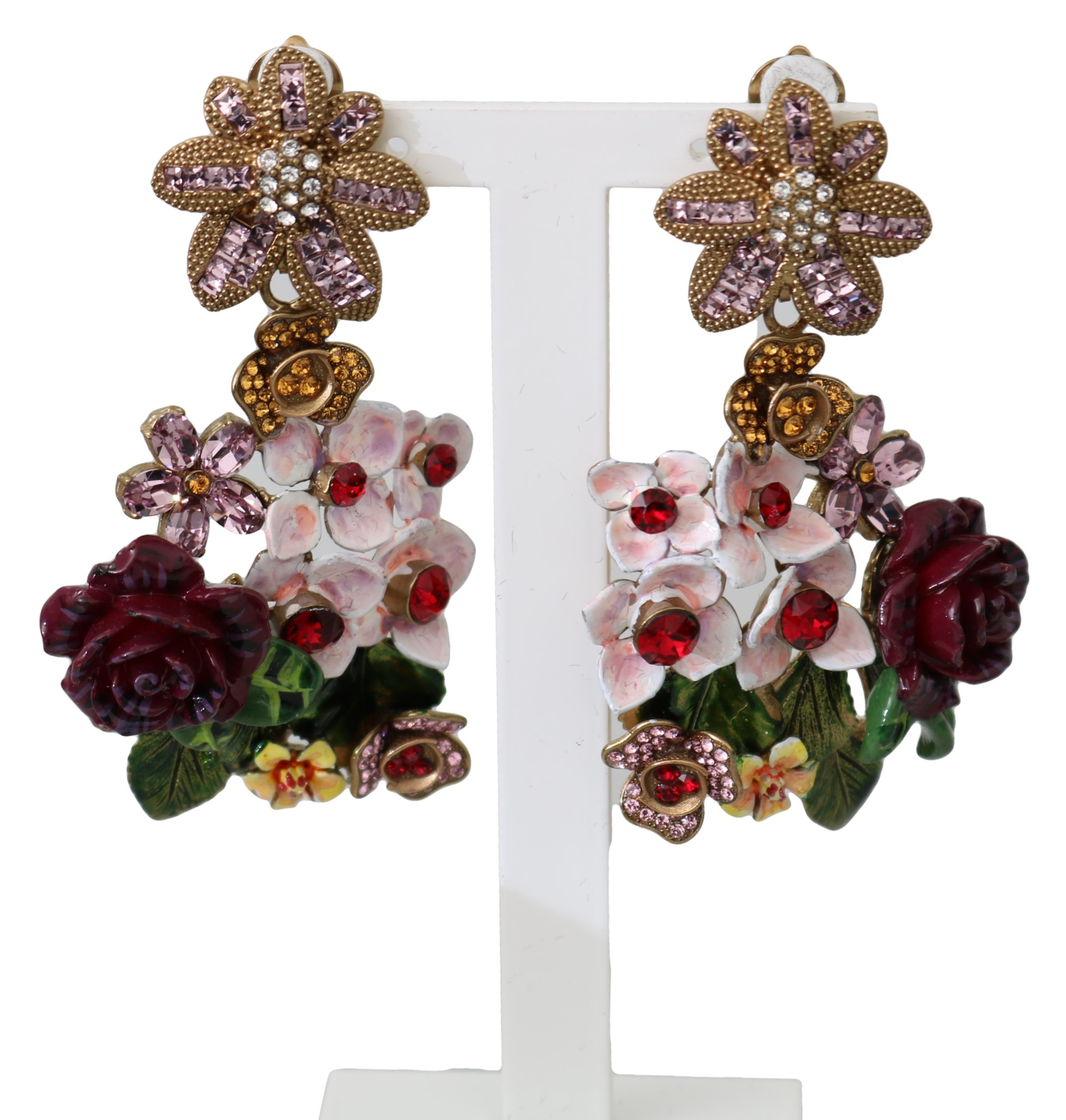 Dolce & Gabbana Women's Crystal Floral Filigree Clip-on Earrings Gold SMY100115