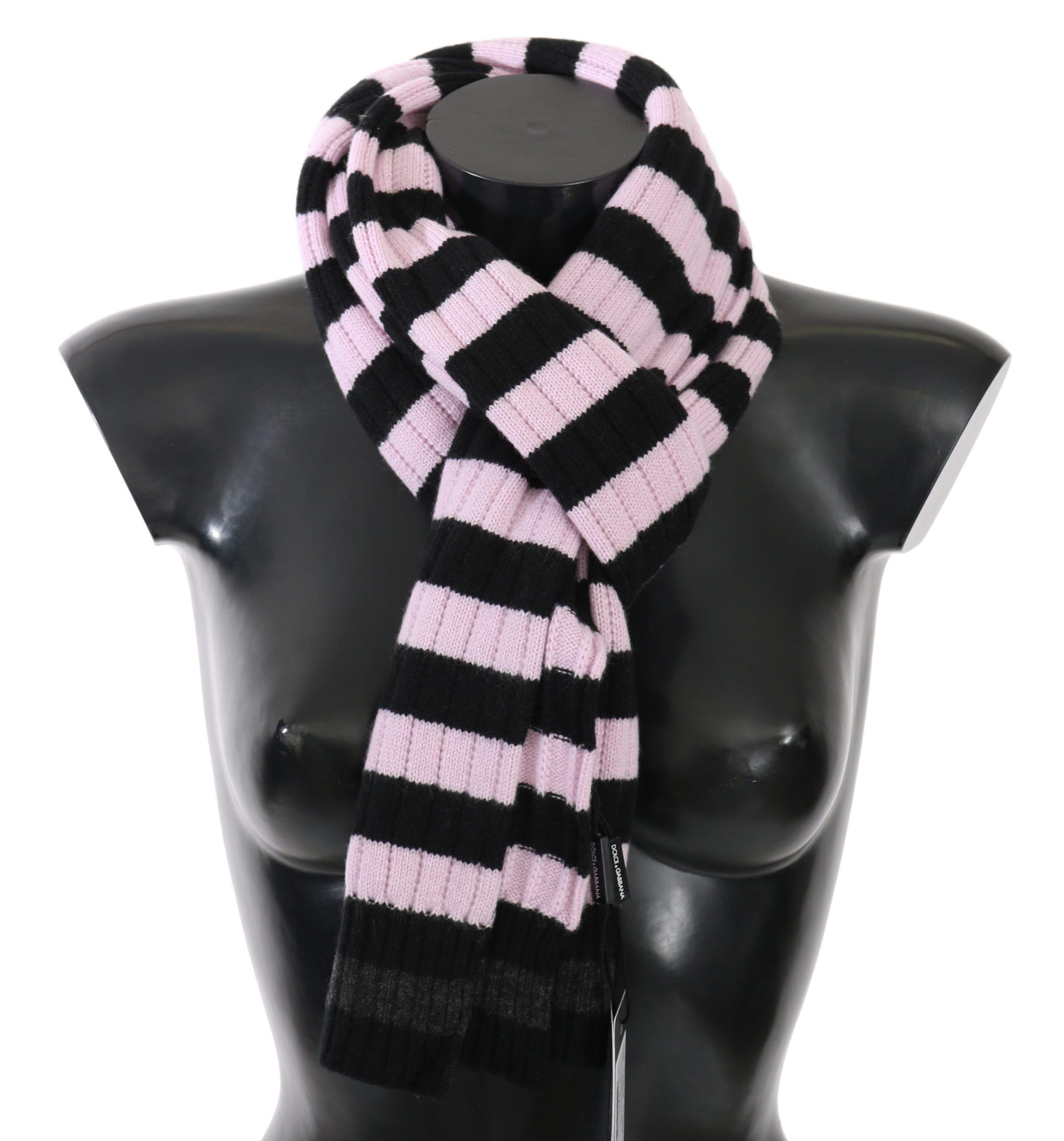 Dolce & Gabbana Women's Striped Cashmere Wool Wrap Scarf Pink MS5013BG