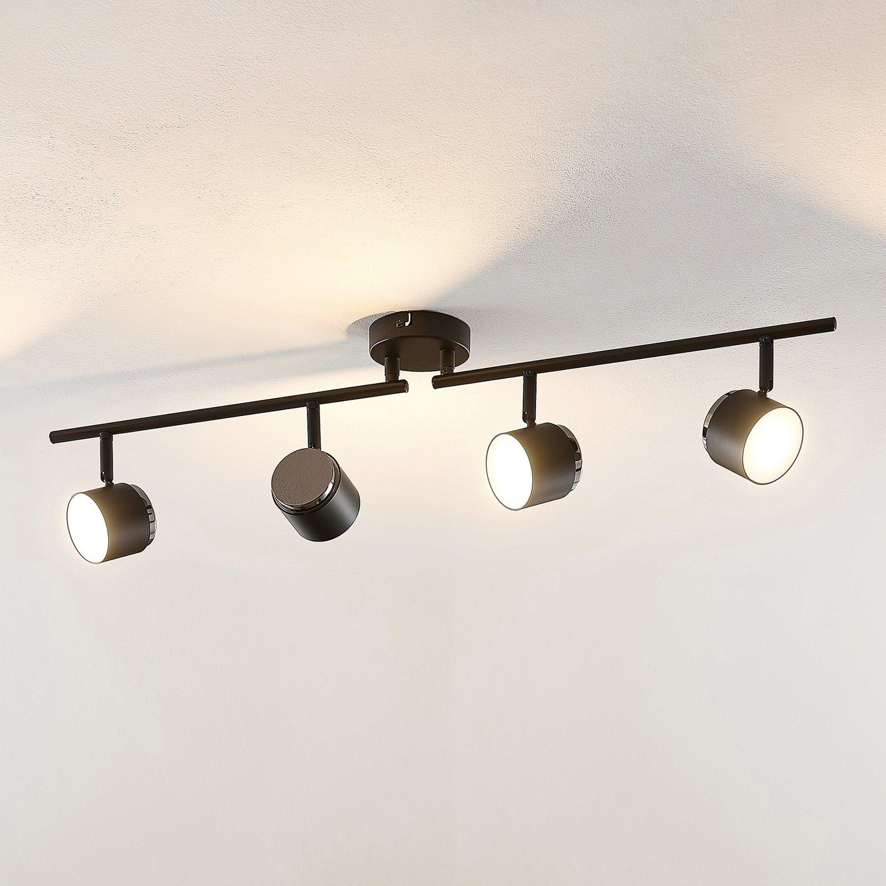 Lindby Marrie LED-lyskaster, svart, 4 lyskilder