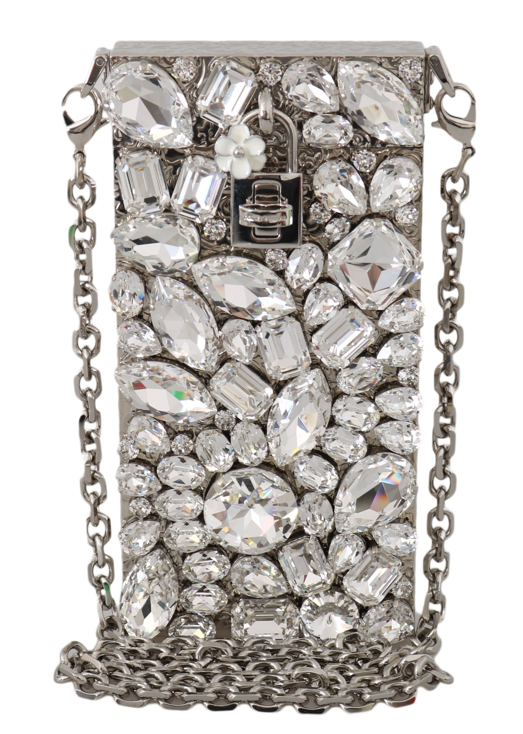 Dolce & Gabbana Women's Crystal Brass Crystal Crossbody Bag Silver VA1134