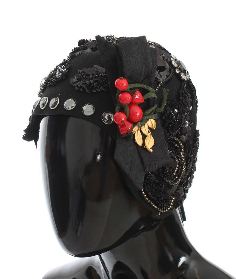 Dolce & Gabbana Women's Crystal Cherries Brooch Hat Black MS883
