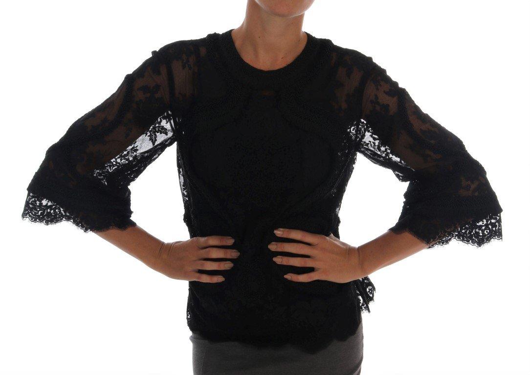 Dolce & Gabbana Women's Floral Lace Cutout Top Black TSH1447 - IT36 | XS