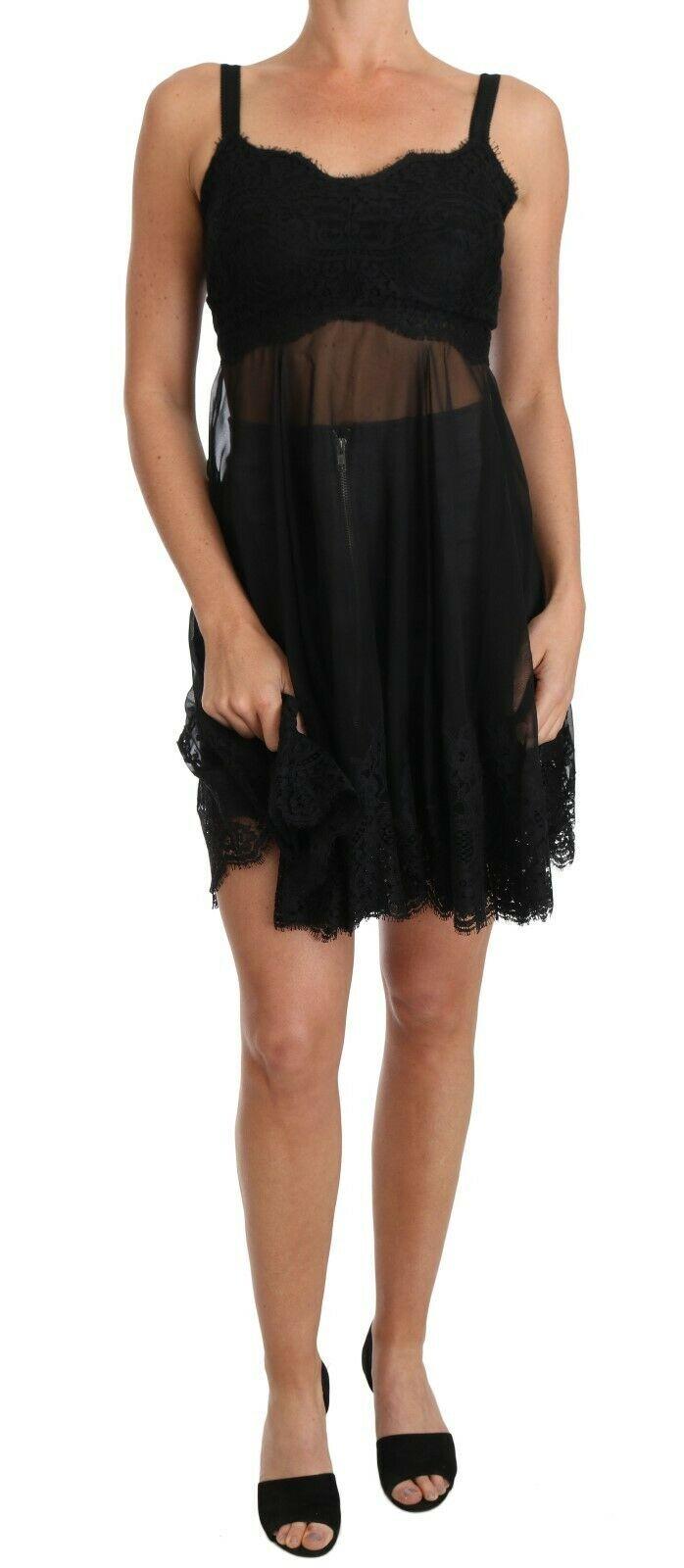 Dolce & Gabbana Women's Silk Lace Chemise Dress Black BIK099 - IT2 | S