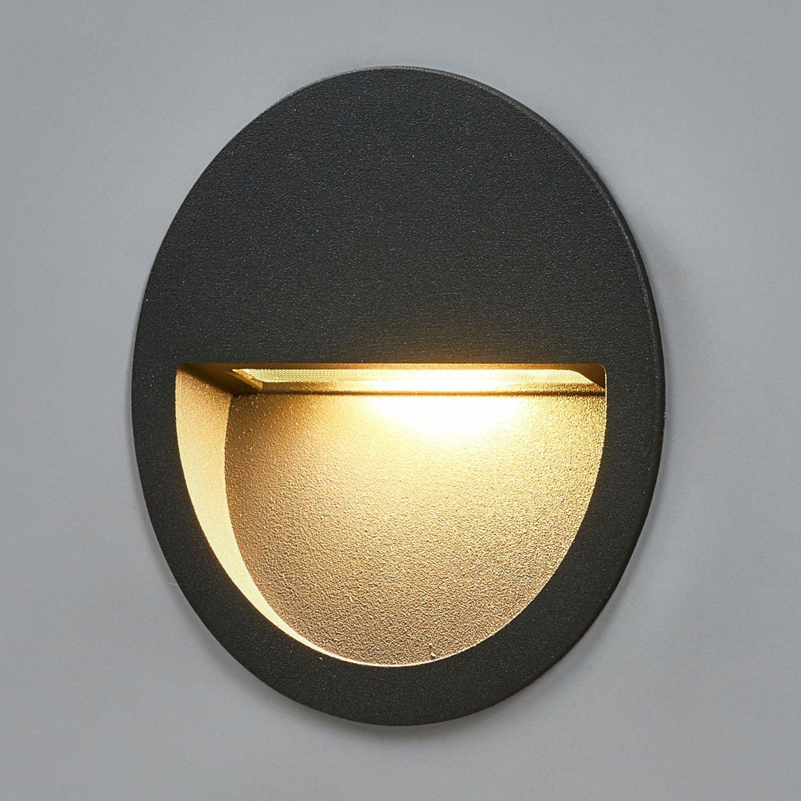 Loya rund LED vegglampe for innfelling