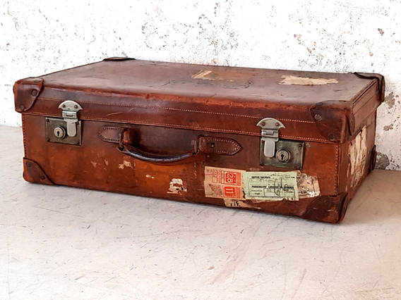 Vintage Leather Suitcase by Gordon House Brown