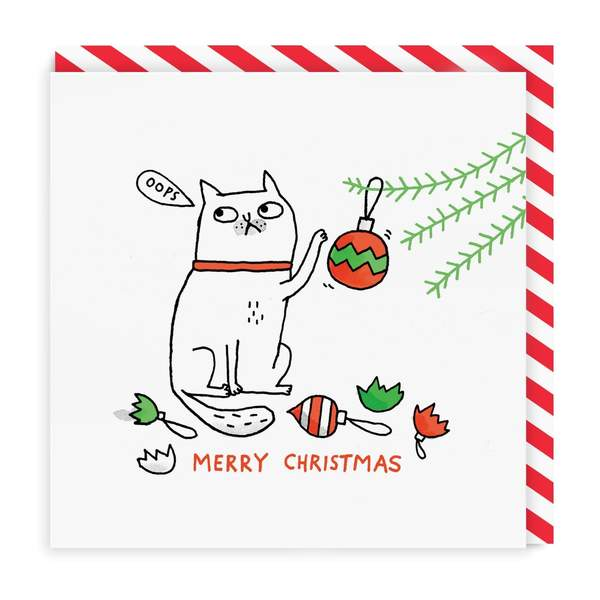 Oops Cat Merry Christmas Square Christmas Card