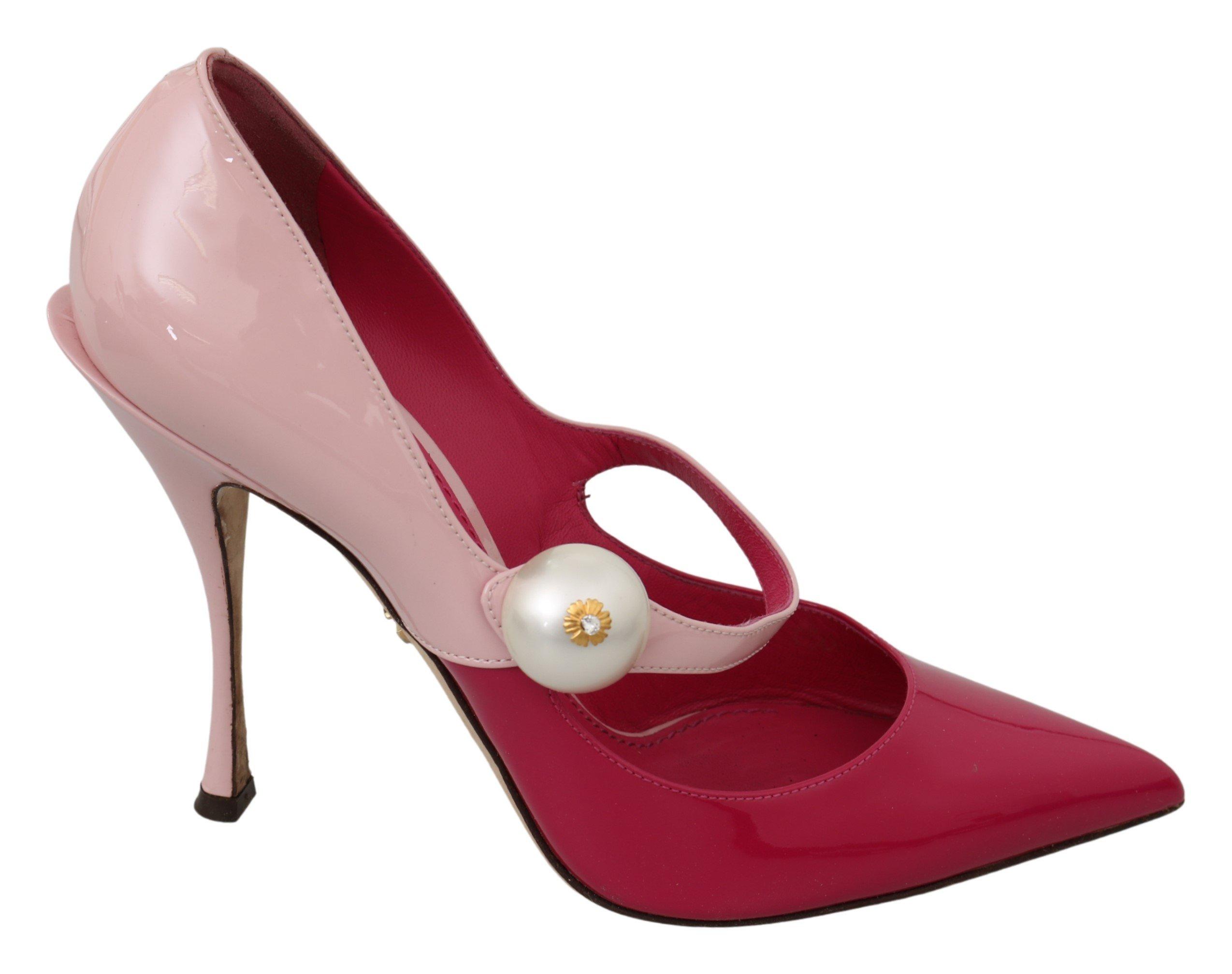 Dolce & Gabbana Women's Leather High Mary Jane Heels Pink LA7136 - EU39/US8.5