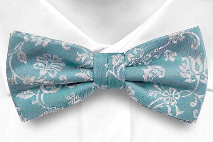 Silke Sløyfer Knyttede, Cyan blå, gulhvit fiskebeinmønstrete blomster