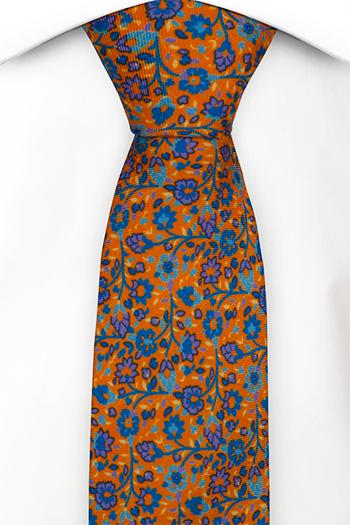 Silke Smale Slips, Små lilla & blå blomster på orange base, Oransje, Blomster
