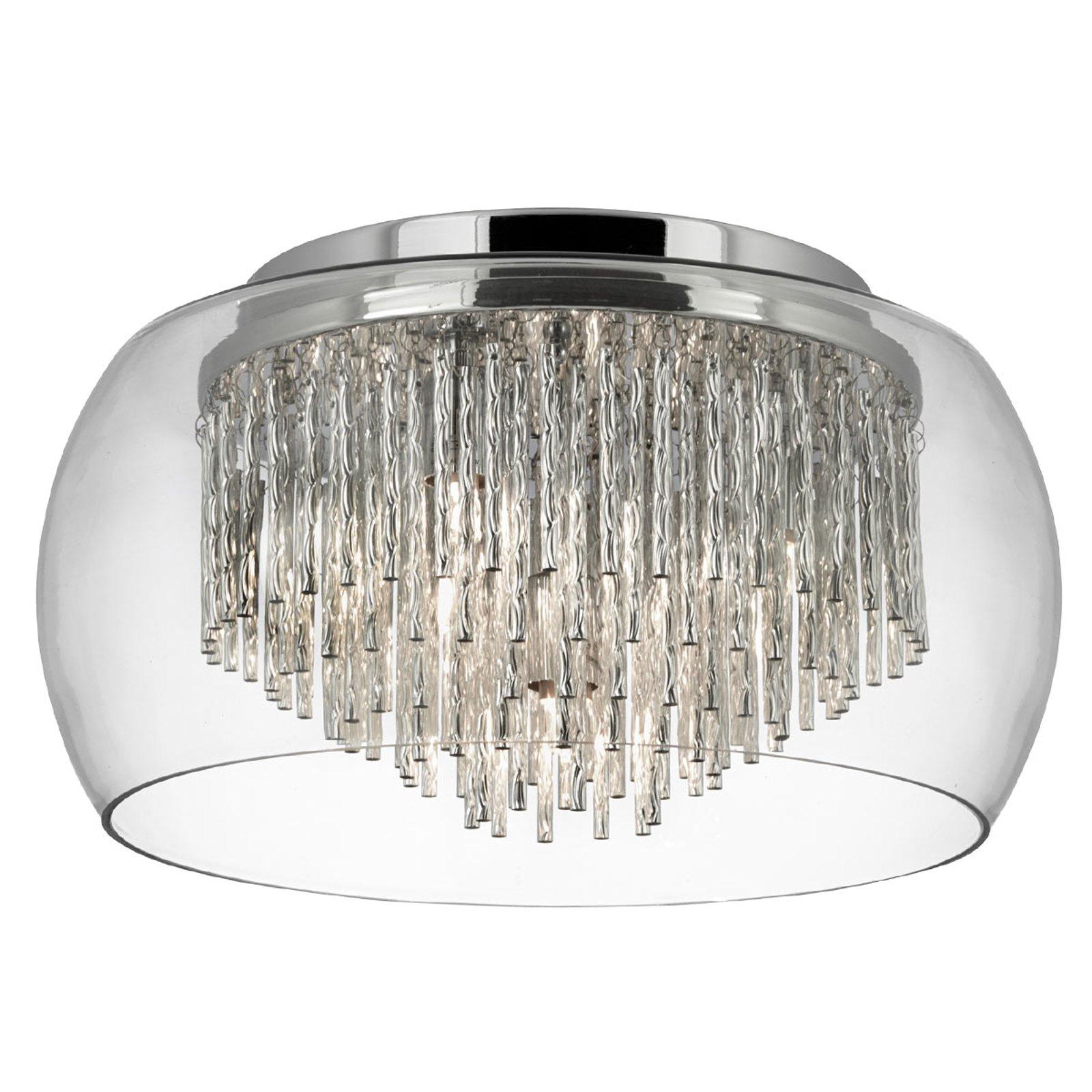 Glass-taklampe Curva med aluminiumspiraler