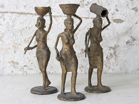 Bronze West African Woman Statue Large