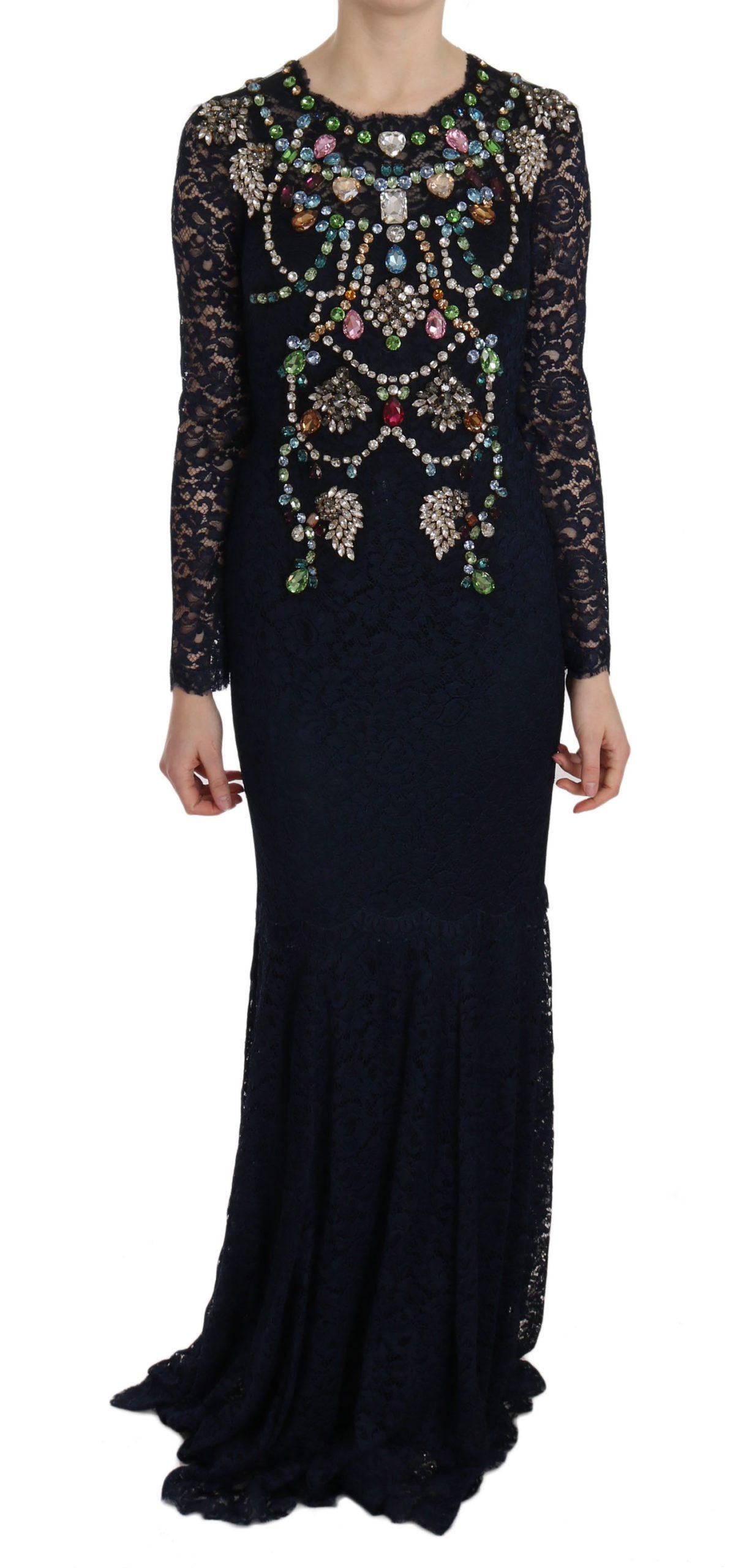 Dolce & Gabbana Women's Crystal Floral Lace Long Gown Dress Blue DR1665 - IT38|XS