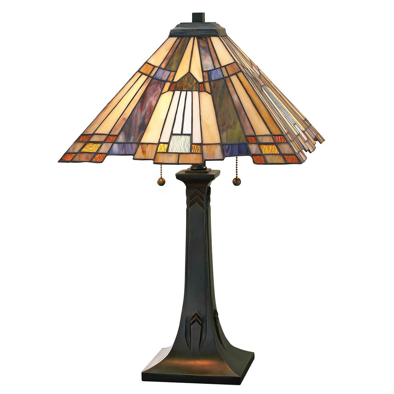 Bordlampe Inglenook med fargerikt glass