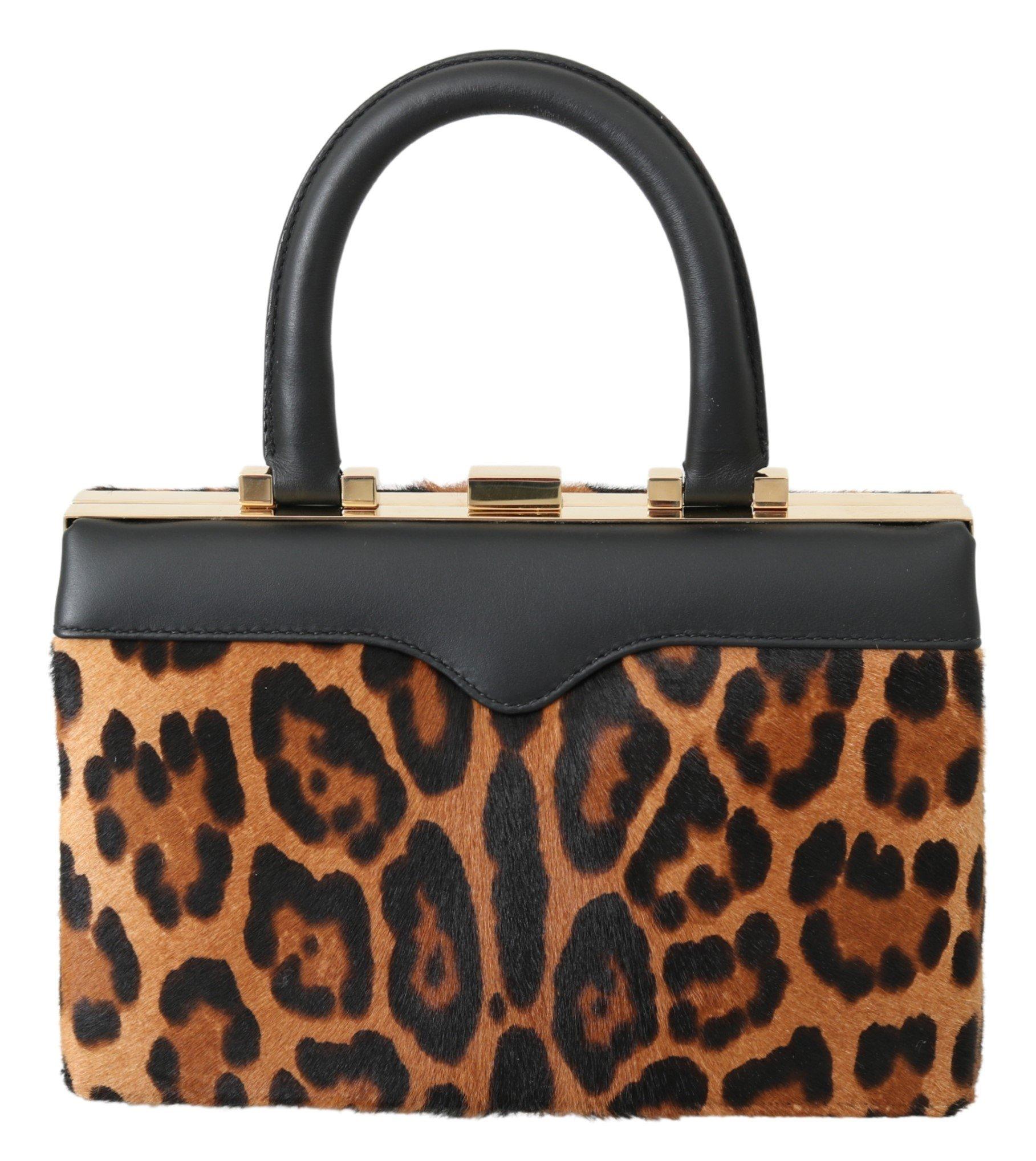 Dolce & Gabbana Women's Leather Leopard Eva Handbag Brown VAS9967