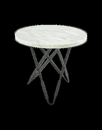 Mini O Table Matt Vit Marmor med Svart Ram Ø40