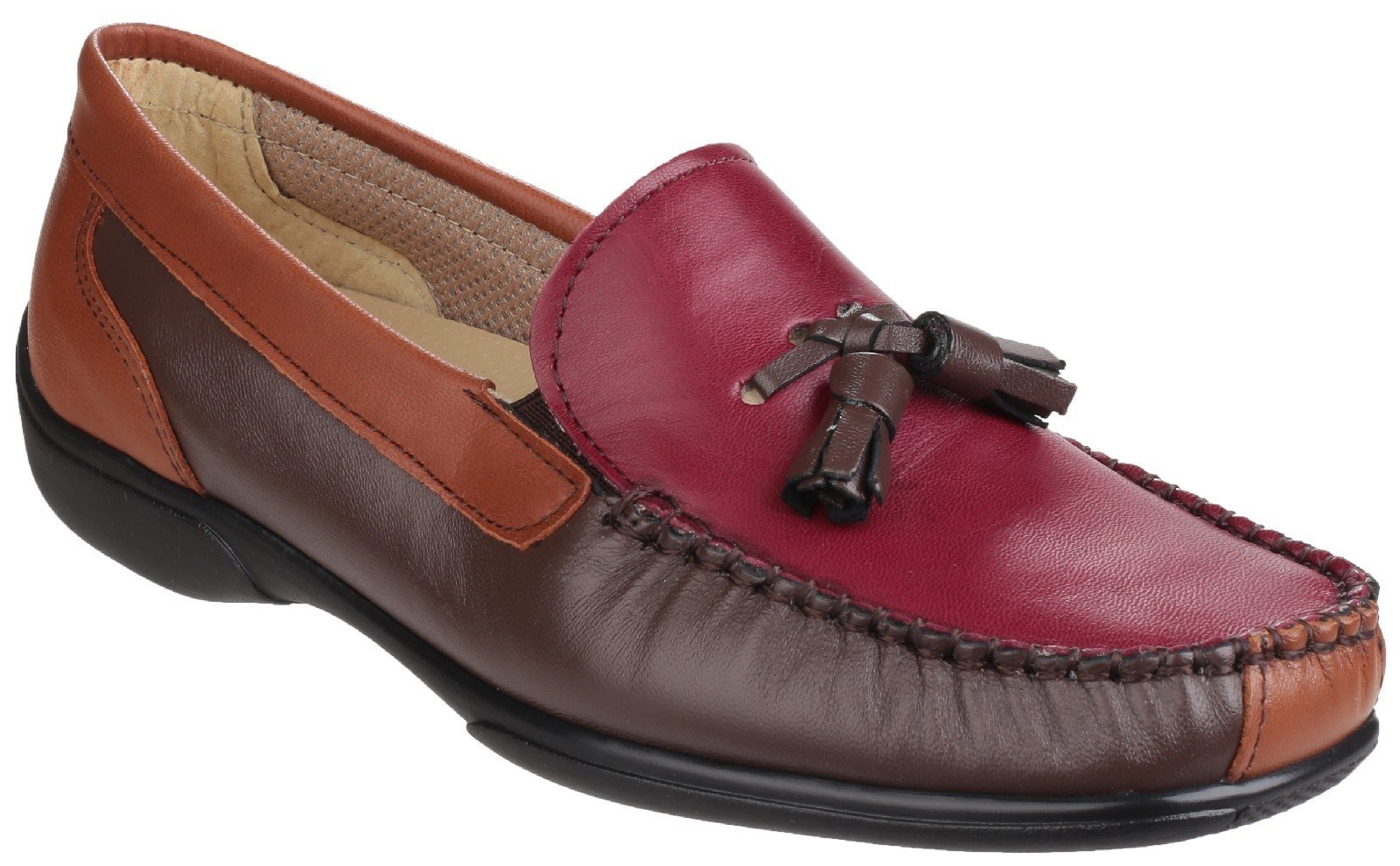 Cotswold Men's Biddlestone Slip On Loafer Shoe Various Colours 20285 - Chestnut/Tan/Wine 3