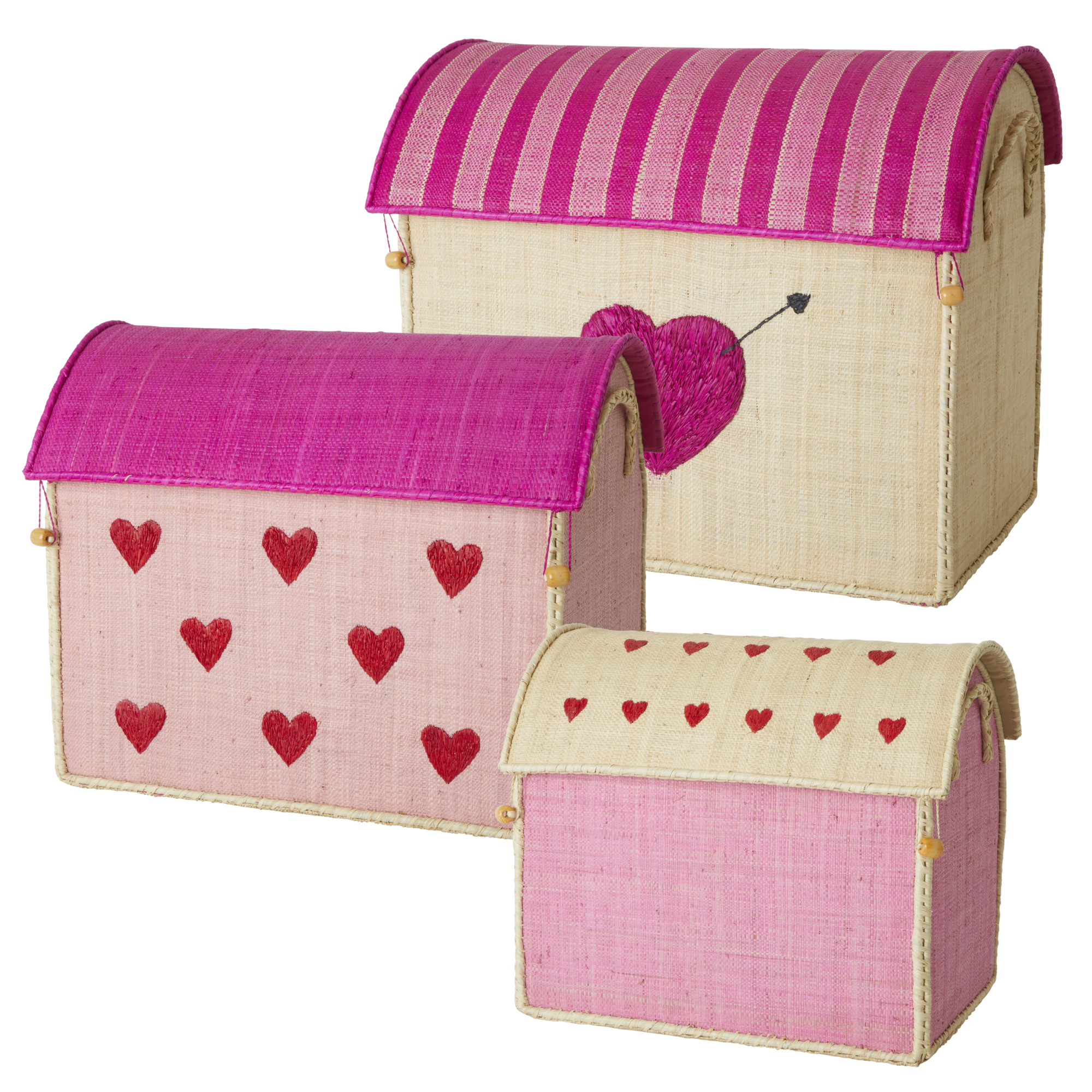 Rice - Large Set of 3 Toy Baskets - Hearts