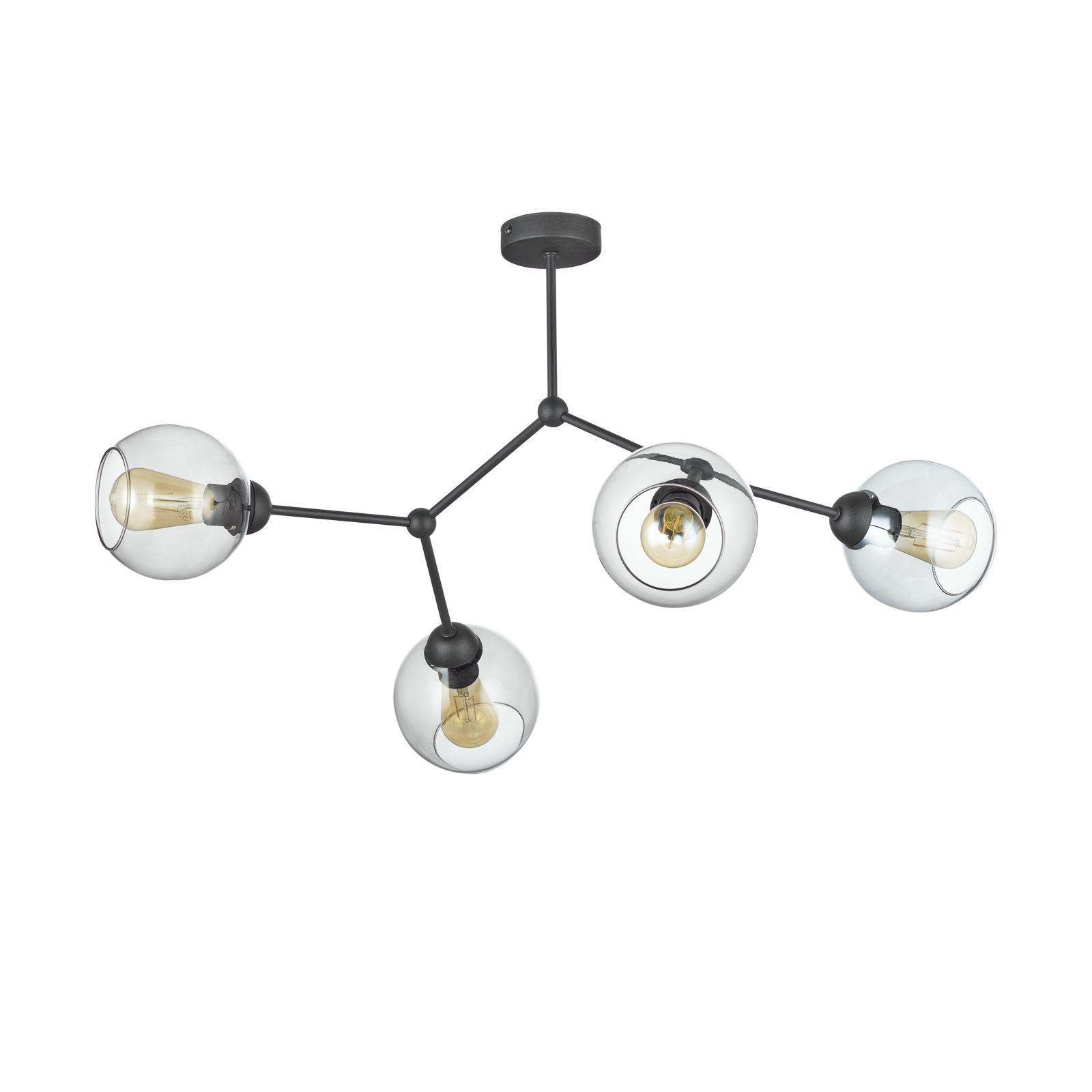 Kattovalaisin Fairy, 1-lamp., harmaa-kirkas/musta