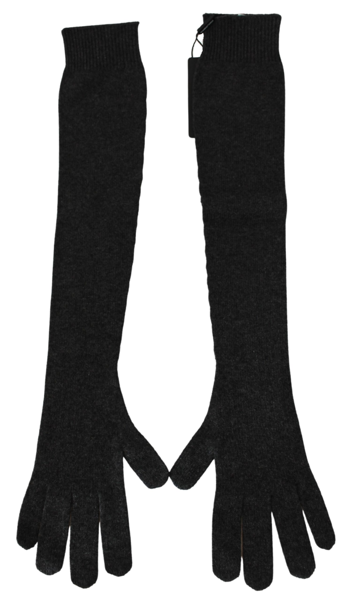 Dolce & Gabbana Women's Elbow Length Soft Warm Cashmere Gloves Gray LB1030 - 8.5 L