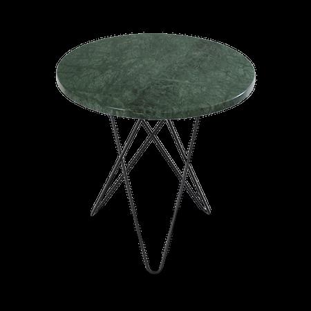 Tall Mini O Sidobord Grön Marmor med Svart Ram Ø50