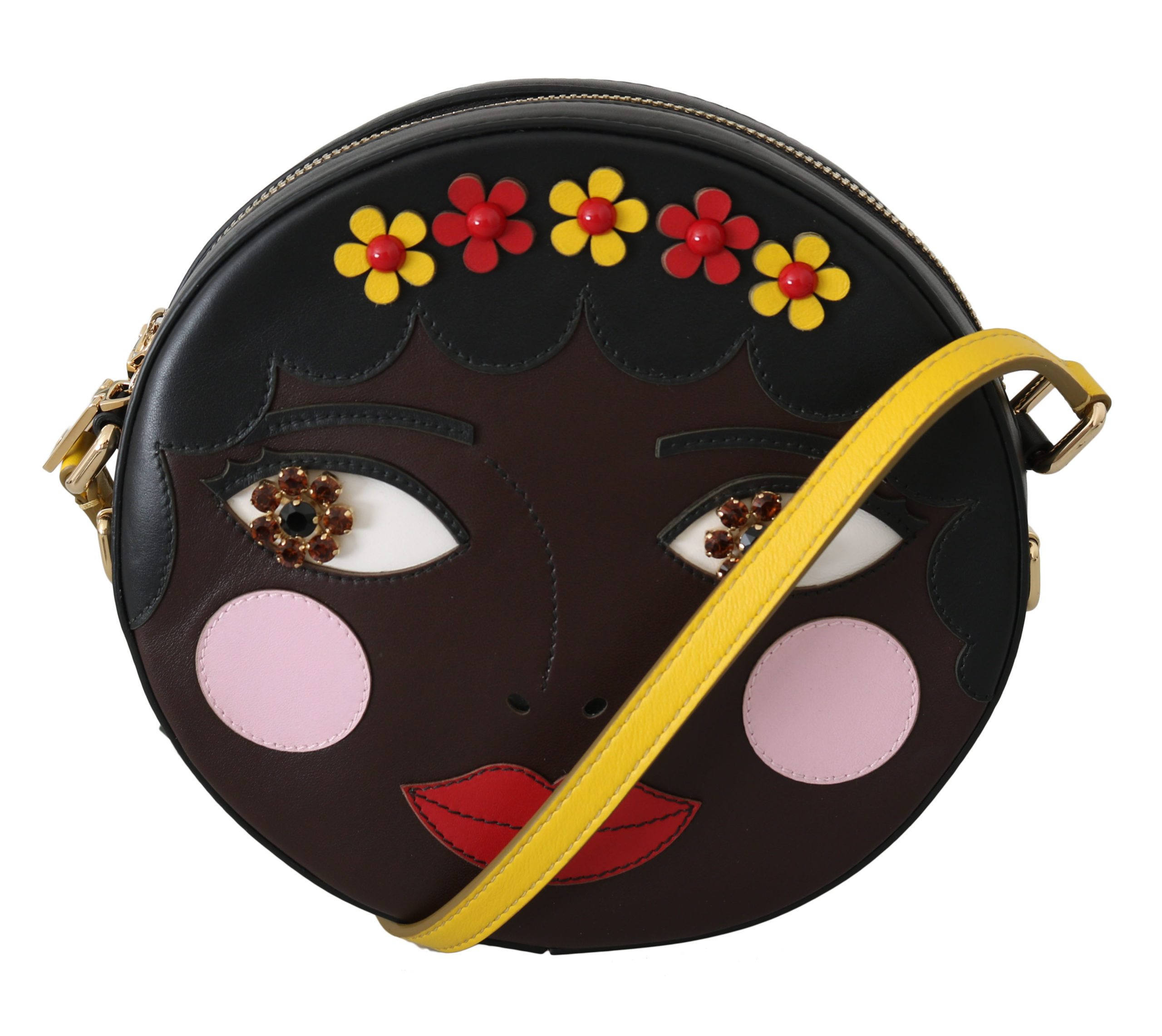 Dolce & Gabbana Women's GLAM Leather Bambola Italian Crossbody Bag Brown VAS8703
