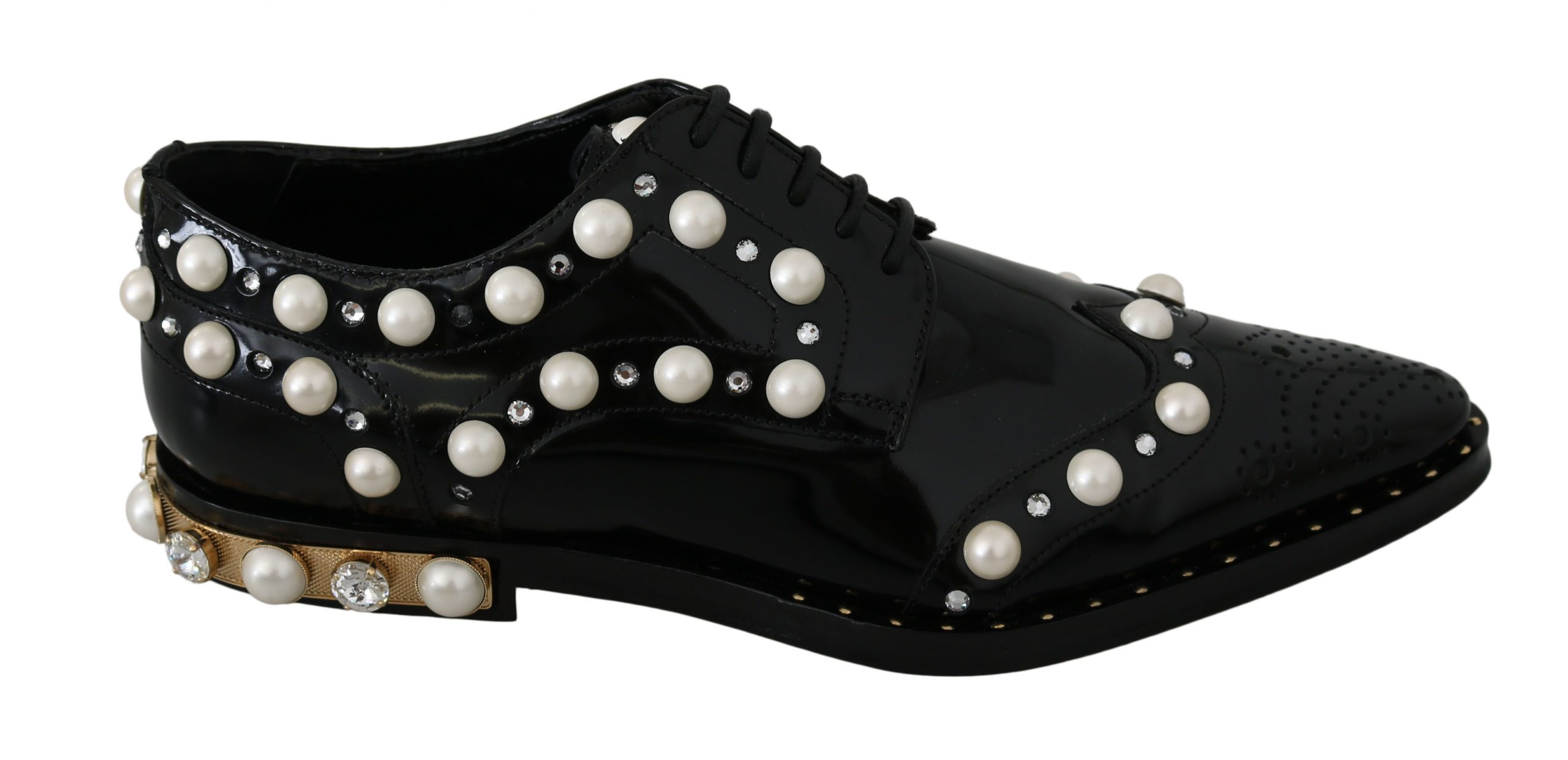 Dolce & Gabbana Women's Leather Crystals Broque Shoes Black LA7447 - EU39/US8.5