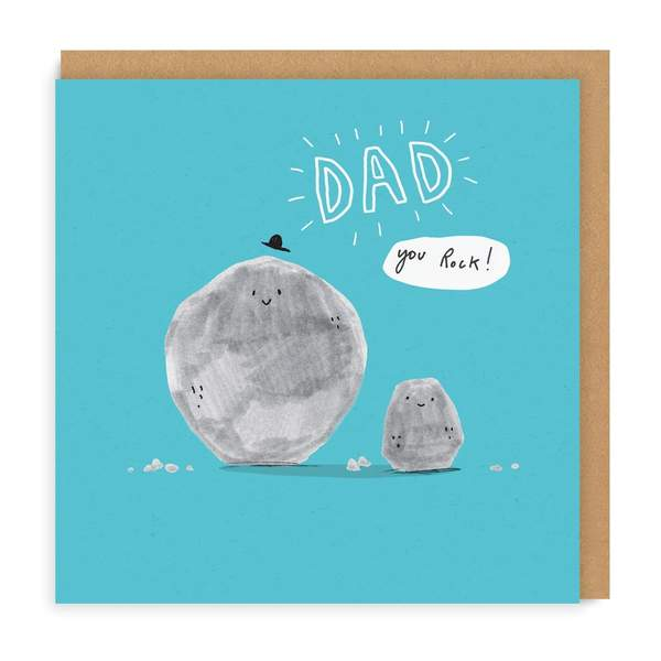 Dad Rocks Square Greeting Card
