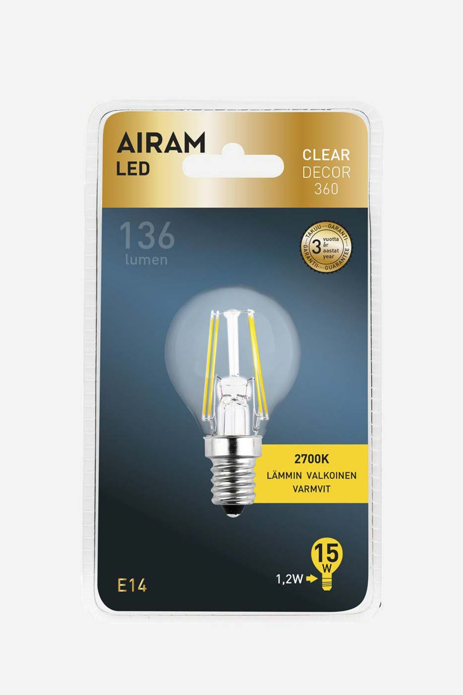 Ljuskälla Filament LED klotlampa klar 1,2W