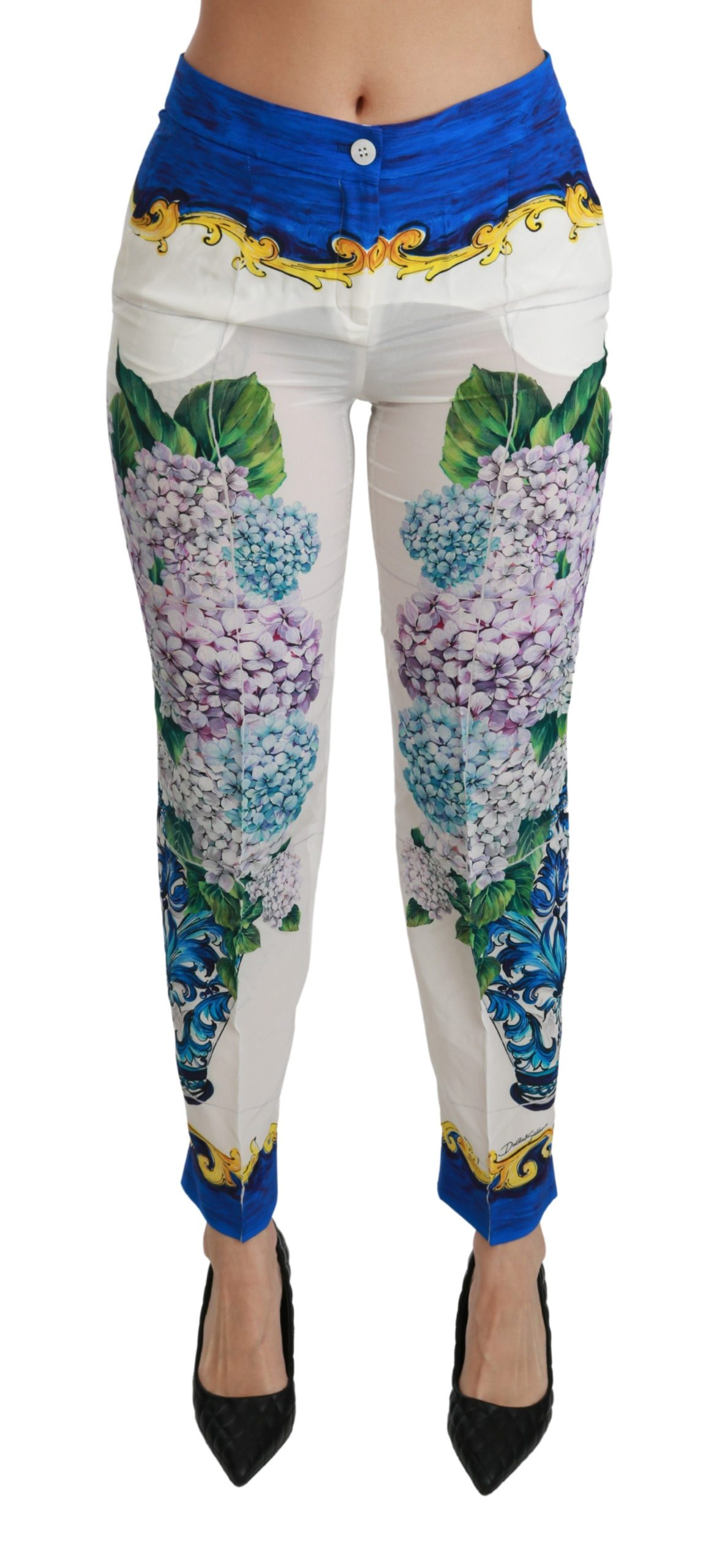 Dolce & Gabbana Women's Hydrangea Straight Mid Waist Silk Trouser White PAN70889 - IT40|S