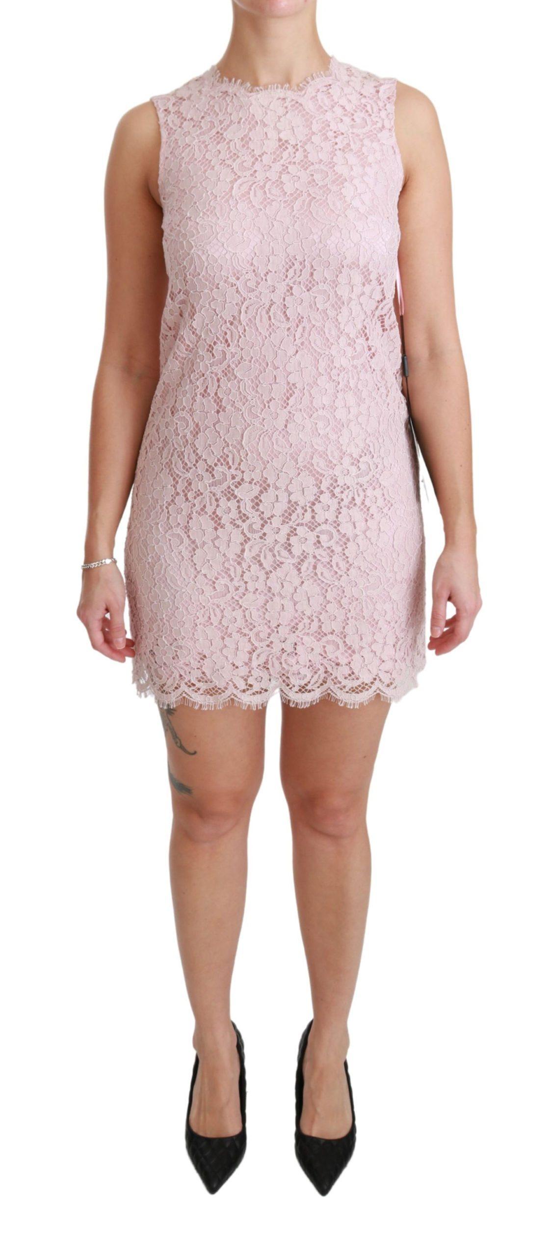 Dolce & Gabbana Women's Floral Lace Shift Gown Mini Dress Pink DR2464 - IT38 XS