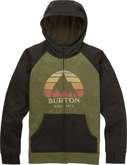 Burton Boys Oak Full-Zip Hoodie, Clover Heather/Resin Heather S