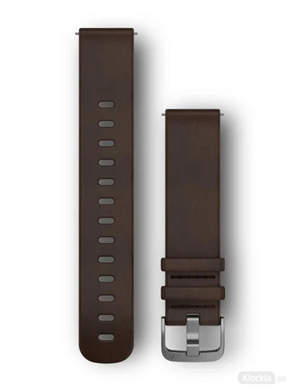 Garmin 20mm Mörkbrunt läderarmband