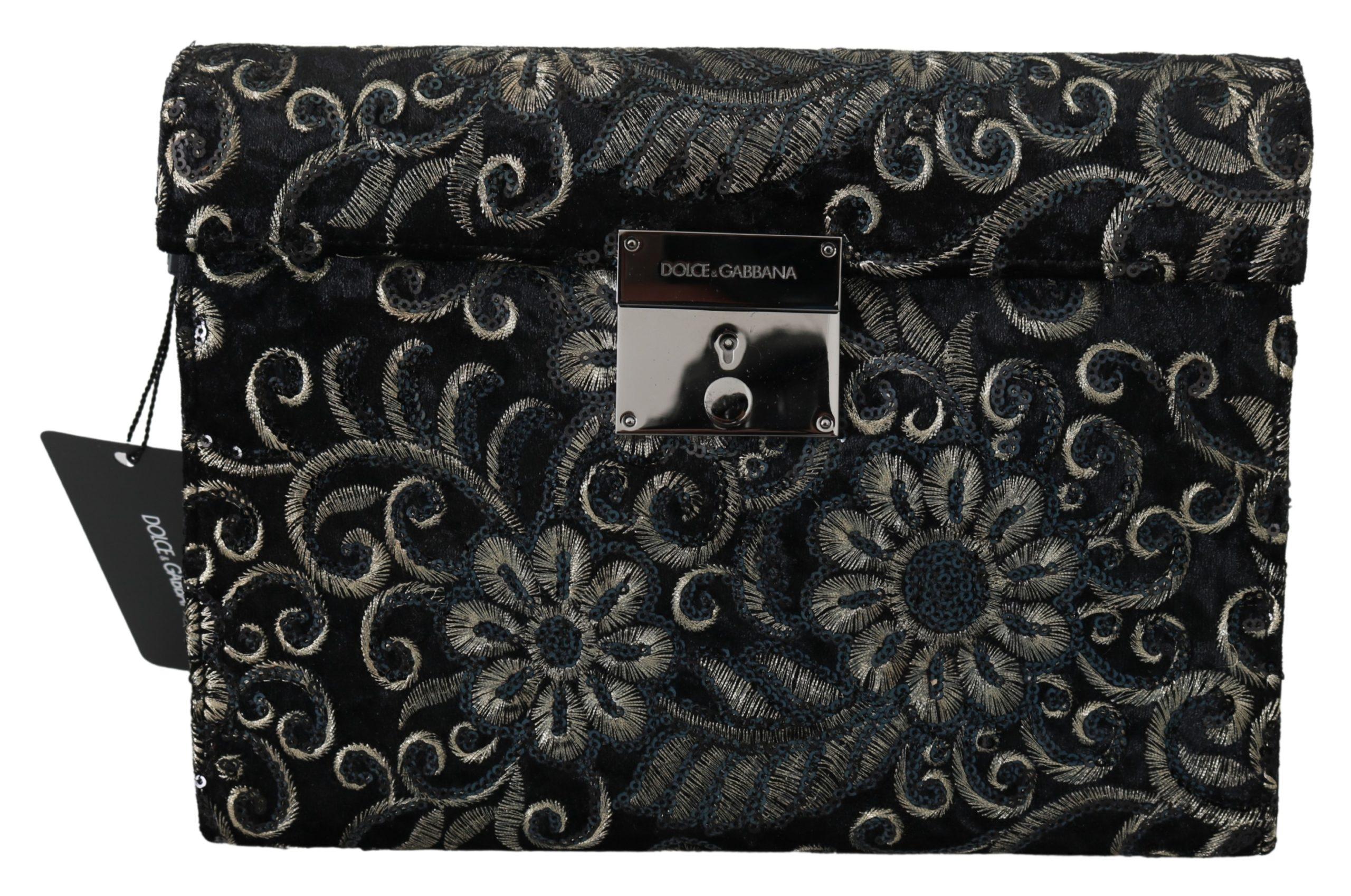 Dolce & Gabbana Men's Ricamo Sequined Leather Briefcase Bag Black VAS9863