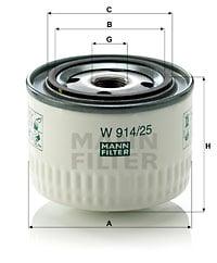 Hydrauliikkasuodatin, automaattivaihteisto MANN-FILTER W 914/25