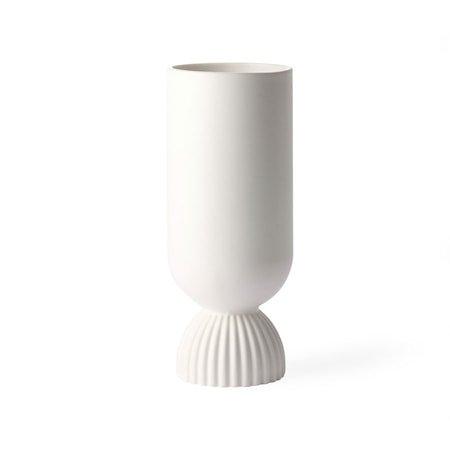 Flower Ceramic Vas Ribbed base White
