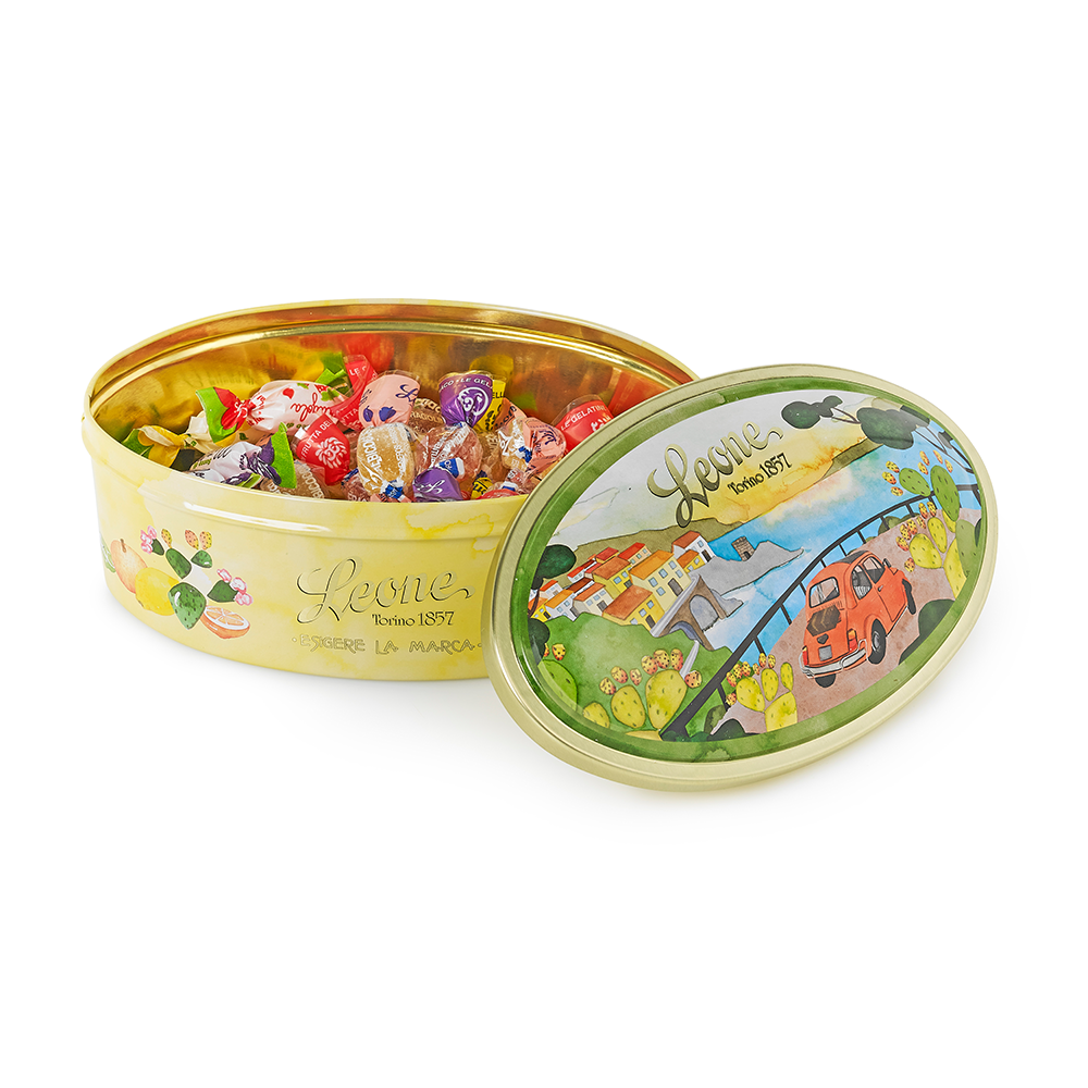'A Drive on the Amalfi Coast' Tin of Fruit Sweets and Jellies 100g by Leone