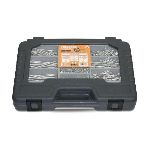 Heco 199124002007 Lajitelmalaukku 625 ruuvia + 3 ruuvauskärkeä
