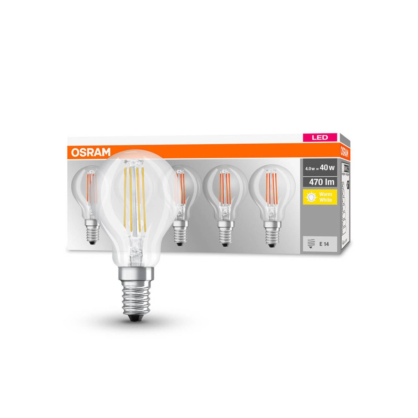 OSRAM-LED-lamppu E14 P40 4W Filament 827 470lm, 5
