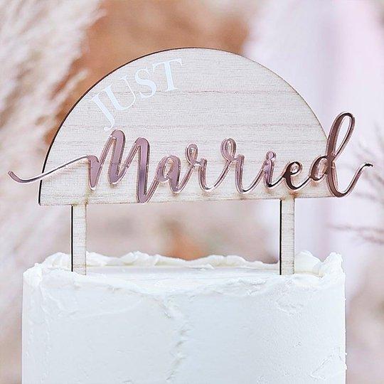Just Married Tårtdekoration i Trä