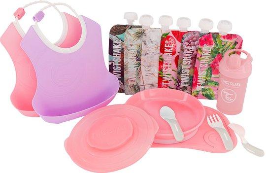 Twistshake Tableware Kit, Pink/Purple/White