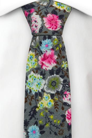 Bomull Smale Slips, Rosa, blå, gule & grønne blomster på grått, Grå, Blomstrete