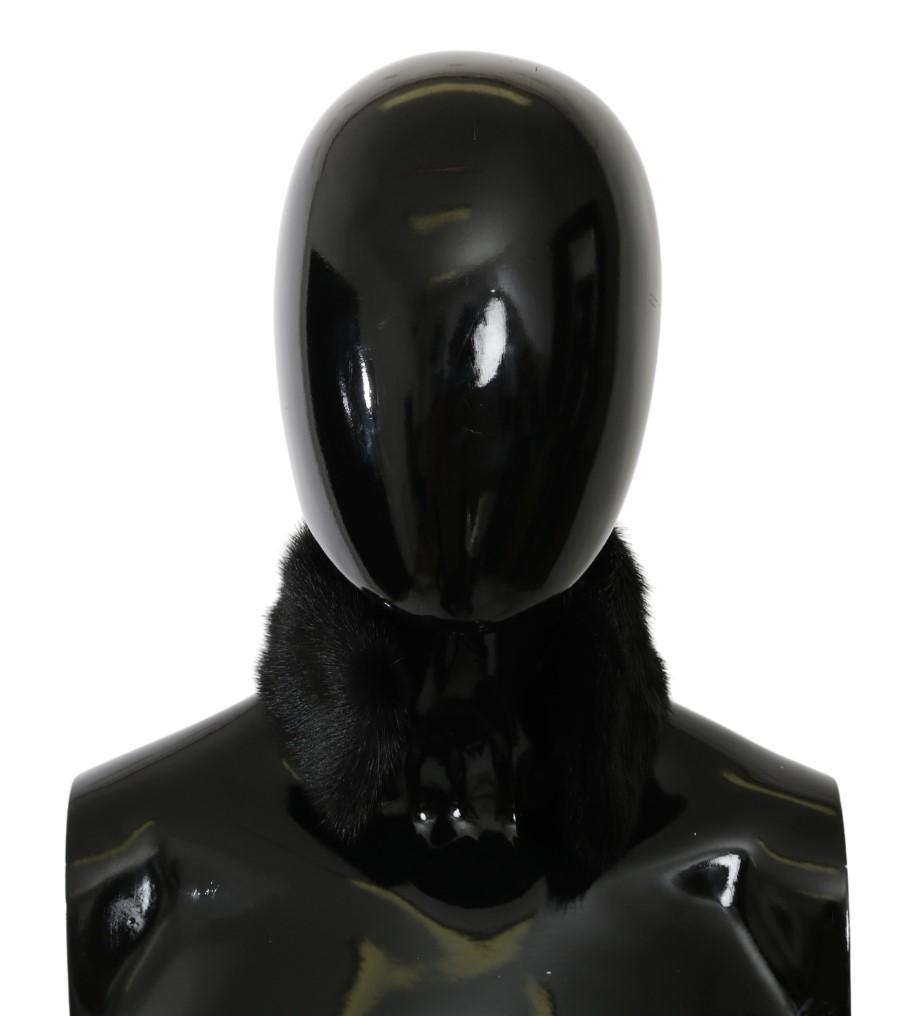 Dolce & Gabbana Women's Fur Neck Collar Mink Scarf Black MS5603