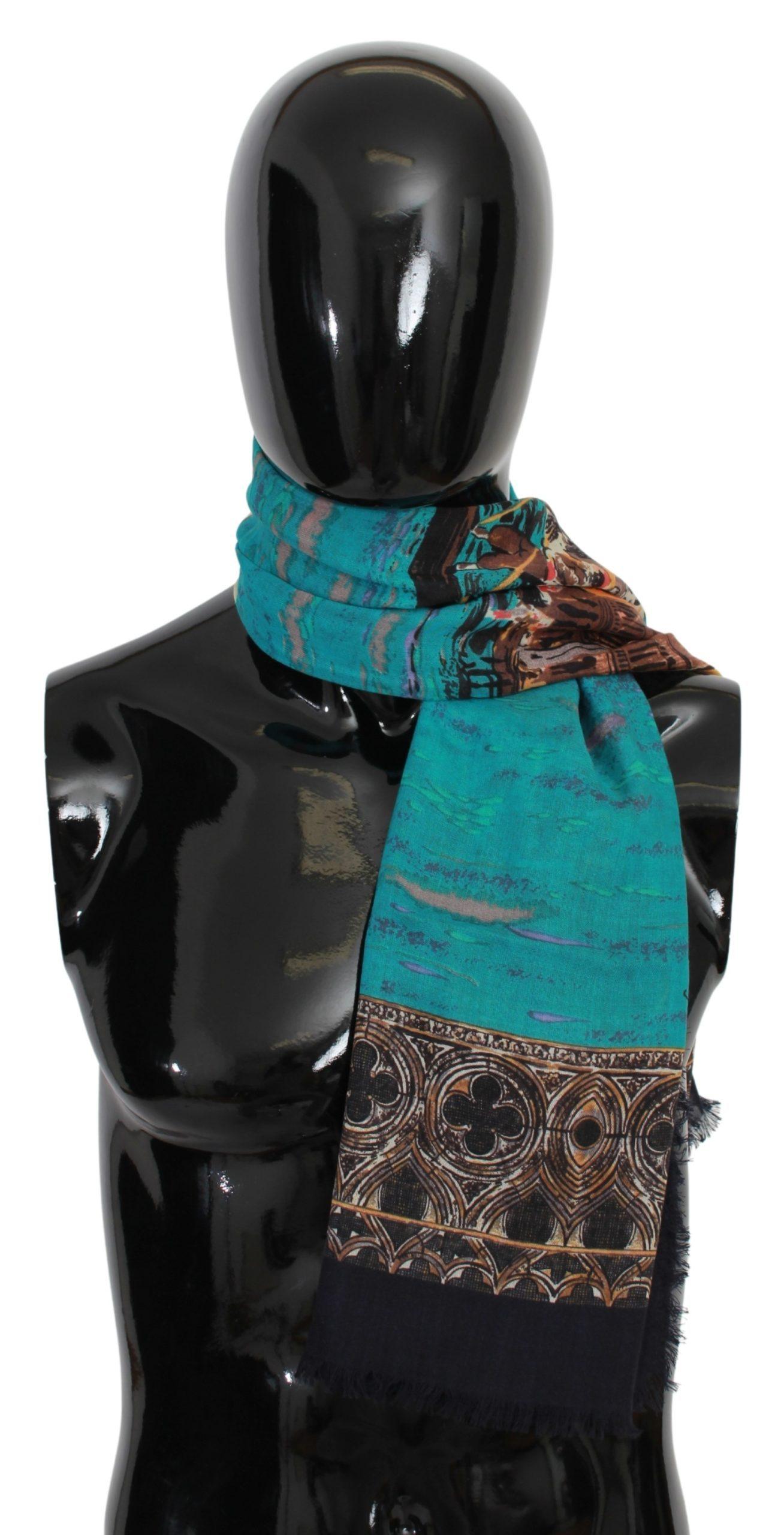Dolce & Gabbana Men's Venice Print Cashmere Scarf Multicolor MS1681