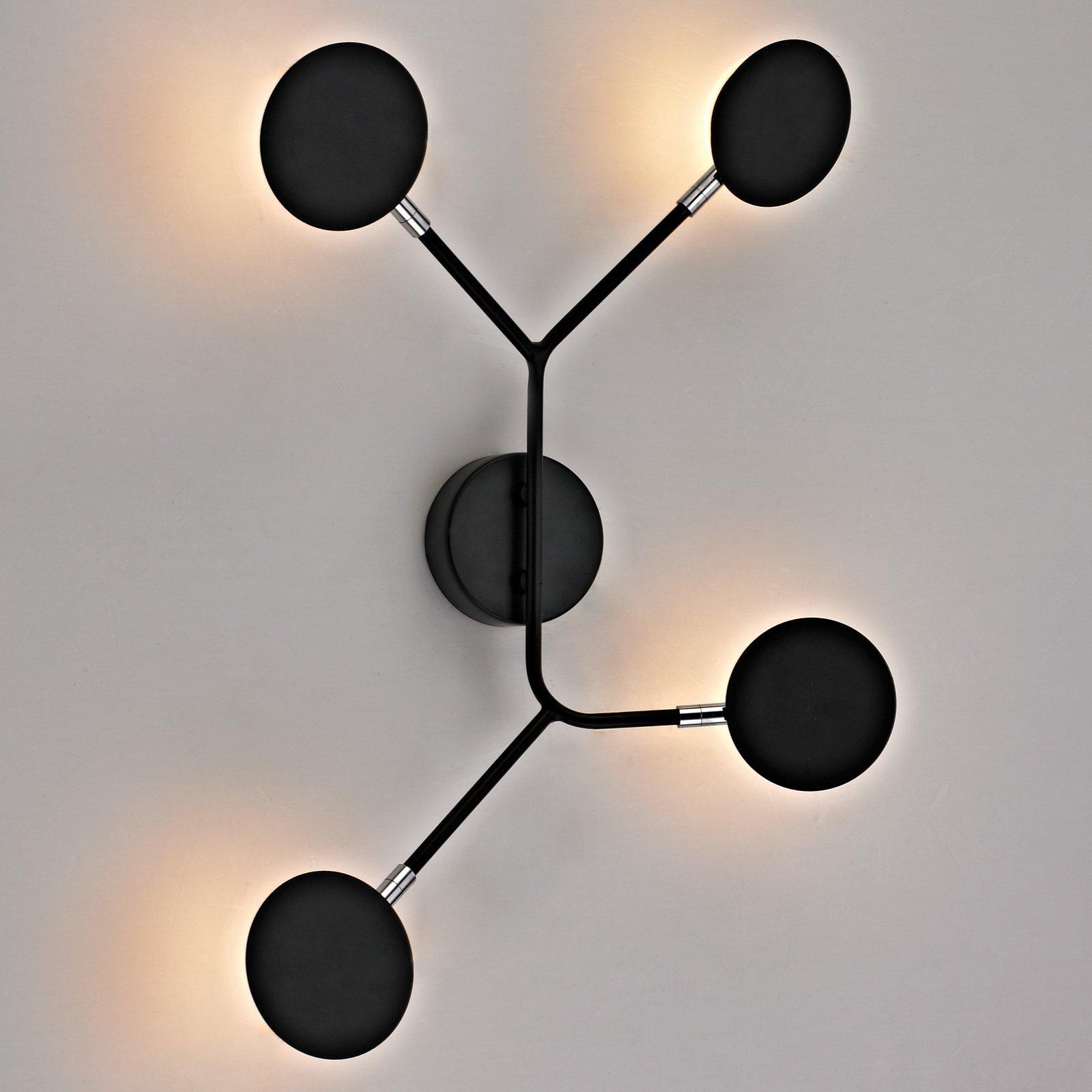 LED-vegglampe Belize, 4 lyskilder, svart