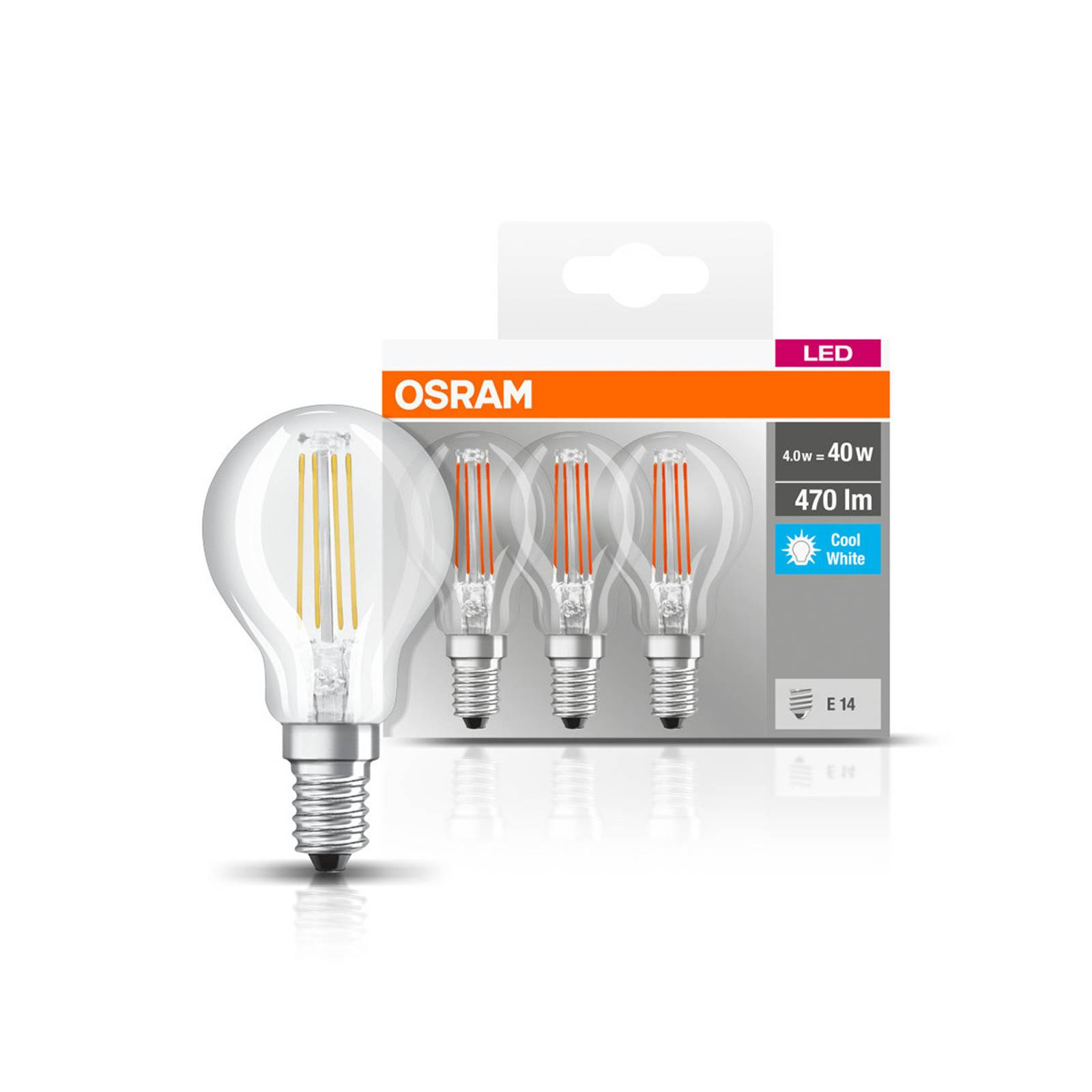 OSRAM-LED-lamppu E14 P40 4W Filament 840 470lm, 3